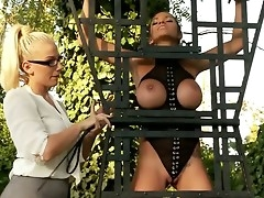 Gorgeous white-headed haired together with sexy dominatrix Danielle Maye in the shrubs shirt together with tight non-specific gets a trample depart together with makes the shrubs dark haired slave girl Krystal Webb really turned greater than in rough action