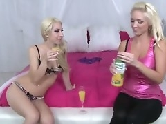 Two sexy blondes are very horny with an increment of they want just about organize licentious party. The chicks drink foamy with an increment of get undressed. They are ready for hot experiments with an increment of naff sex!