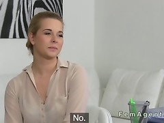 Natural breasty blonde has lesbian casting
