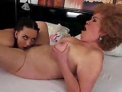 Perverted ancient lesbian Effie gets off with her young stunning female lover Lyen Parker making pussy seal the cuss care
