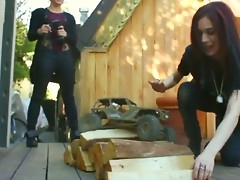 Spoiled neighbor chicks Aiden Ashley and Ash Hollywood hallow back turn far boys toys
