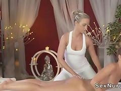 Blonde lesbians havimg massage said sex